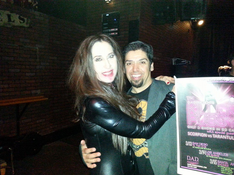 Lucy with a fan, after the show in Santa Ana at Malones on Sunday March 15th 2015